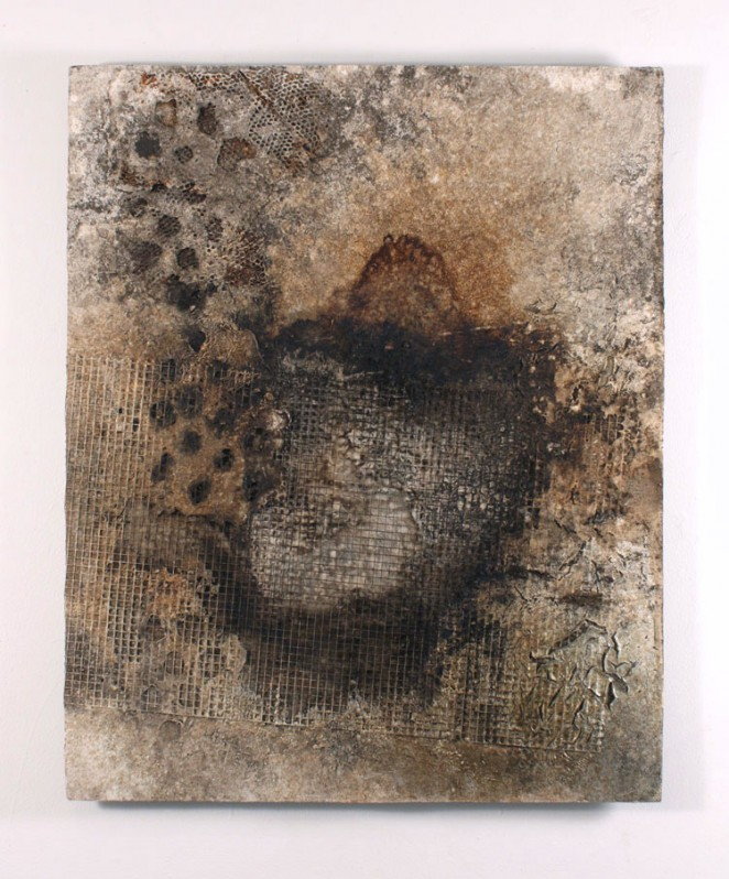 Coffee Soaked Earth Coffee, Dirt, Acrylic Paint, Metal Mesh on Wood Panel The surface was constructed then buried in the soil to allow it to decay then coffee dripped onto it for three days as it lay flat on the ground in exhibition space.