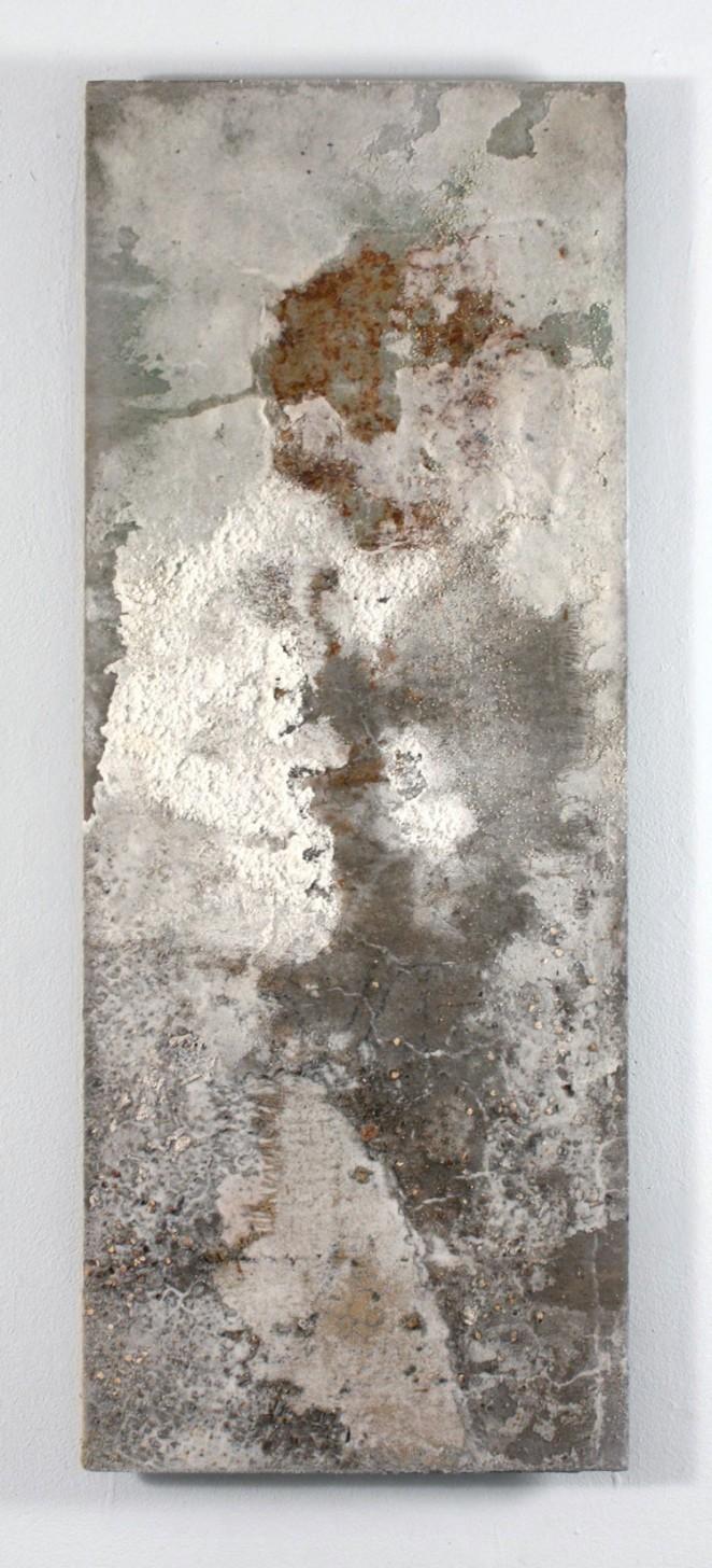 "Lake Bonneville Remnant Salt, Earth on Wood Panel 14"" x 36"""