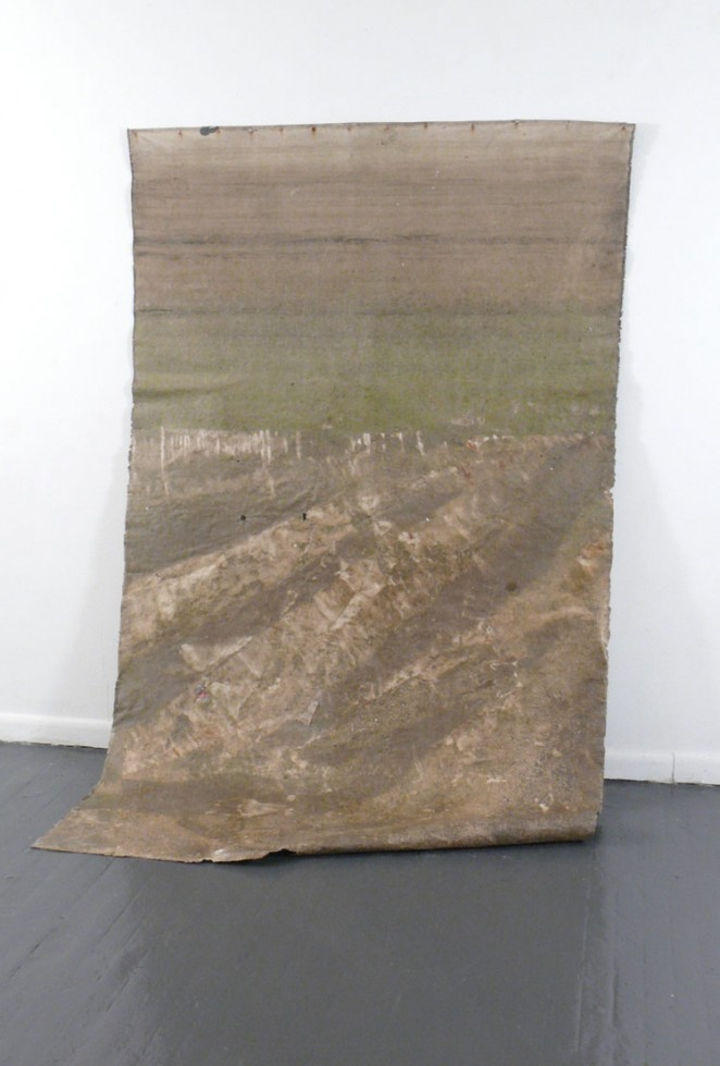 "Soil Soak Composted Dirt, Cotton Canvas. Each canvas installment is approximately 42"" x 60"". For three months this canvas soaked in the filthy, toxic water of Newtown Creek, New York. Hurricane Sandy also left its mark."